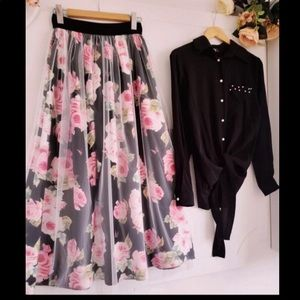 Dresses & Skirts - Turkish Two piece/Floral Skirt/ Black Blouse [NEW]